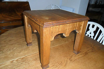 Gorgeous Antique French Arts & Crafts Light Oak Stool - Good condition.