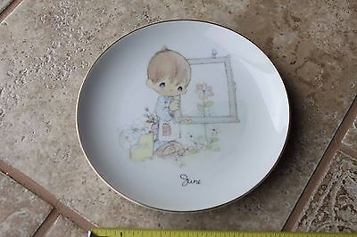 Precious Moments June Month Birthday Calendar Collector's Plate 1983