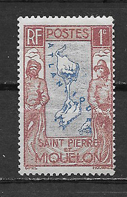 ST,PIERRE & MIQUELON, FRANCE , MAP & FISHERMAN , 1c STAMP  , PERF, MNH