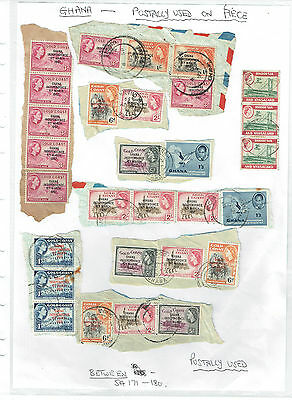 Ghana c1957 selection of used on pieces + other - as per scan
