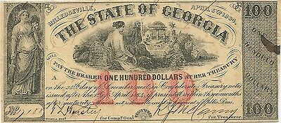 1864 $100 Georgia Confederate Civil War Currency Note ~ Milledgeville ~Very Nice