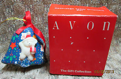 "Avon Gift Collection Decoupage 2"" Teddy Bear Blue 3D Bell Ornament Boxed"