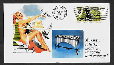 1966 Musser Vibraphone & Pin Up Girl Featured on Collector's Envelope *z148