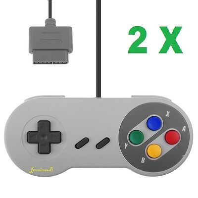 2 x SNES Super Nintendo Style Gaming Controller Gamepad wired Console Unofficial