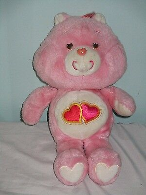 "Vintage Love-A-Lot Bear Care Bear Soft Plush toy. 1980s. 13"".Double heart Symbol"