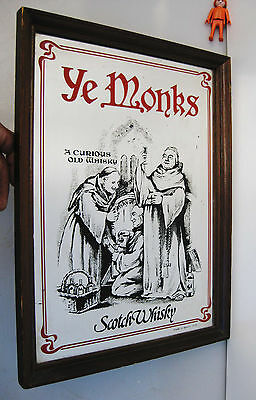 Rare 50´S Espejo Publicidad Decoracion Pub Vintage Ye Monks Scotch Whisky
