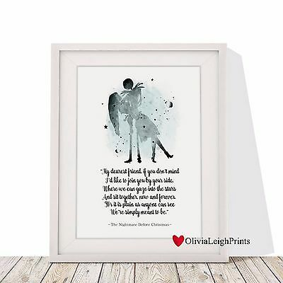 Nightmare Before Christmas Word Quote Print Watercolour-Wall Art-Gift