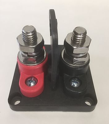 "Divided Base Red & Black Power Post Block Insulated Terminal Stud 3/8"" Stainless"