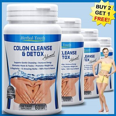 Colon Cleanse Detox Capsules Organic Herbs Flush Pounds Weight Loss Diet Aid