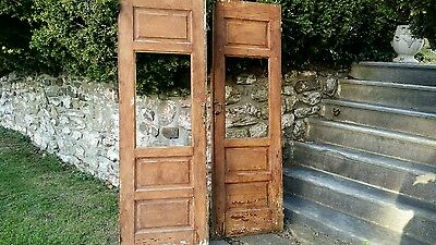 "Pair of old wood 3 panel doors opening architectural Pumpkin color L@@k 67"" tall"