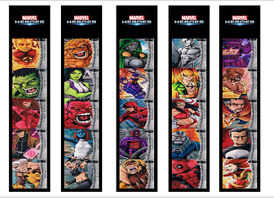 Marvel Heroes Childrens Bookmarks Laminated X 5 Set 2