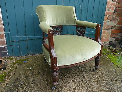Antique Edwardian Carved Mahogany Captain's Library Chair Tub Upholstered Green