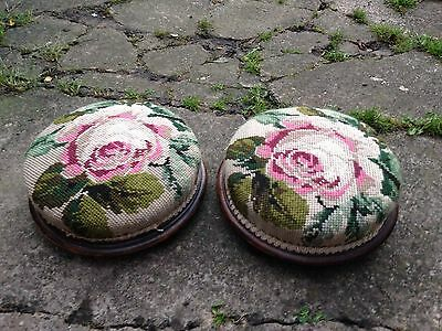 Pair of Antique Victorian Foot Stools with Woolwork Covers