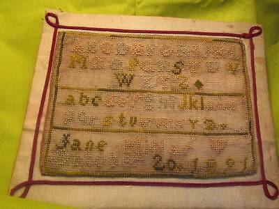 Small Victorian Sampler dated 1891 by Jane Millar