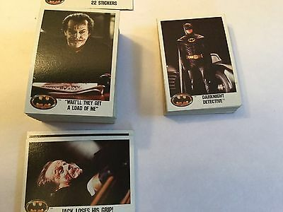1989 Topps Batman Cards-Complete Set Of 132 Cards-Near Mint Condition