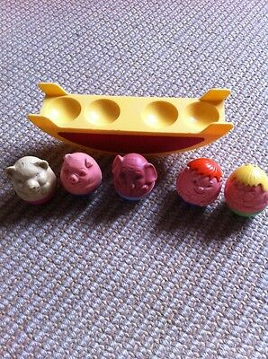Vintage Toy Weebles Playground See Saw Animals Pig Bear Elephant Girl Boy Airfix