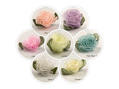 10 Organza Chiffon Sheer Ribbon Cabbage Rose Flowers  Many Colours Listed