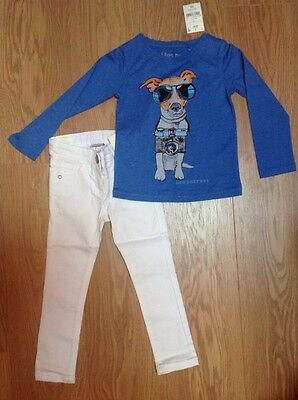 Next Girls White Skinny Jeans & Dog 3/4 Sleeve Top / Outfit 4 Years BNWT