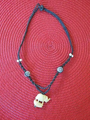 Ethnic elephant carved necklace carving leather L306