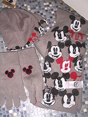 Disney Store Mickey Mouse Hat Scarf & Gloves Age 7/10 Brand New Very Rare