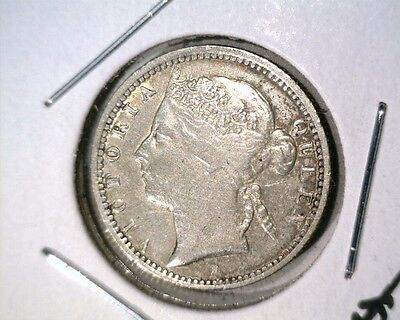 1900 H Straits Settlements Silver 10 Cents Coin KM#11 Victoria Very Fine  .0697
