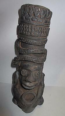 Aztec Mexican Black Fired Pottery. Frog Man and Snake. Incense Burner Maybe