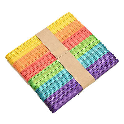 Colorful Wooden Popsicle Stick Ice Cream Cake Lolly DIY HandiCraft Art Kid Toy