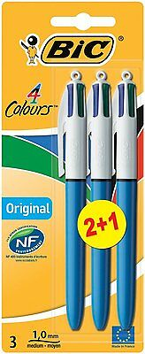 BiC 4-Colour Ball Point Pens Assorted, Pack Of 3 Black Blue Red Green Ink 4 in 1