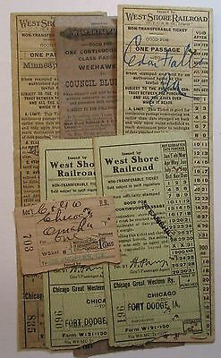 West Shore Railroad Ticket - lot of 5 - issued in 1920's