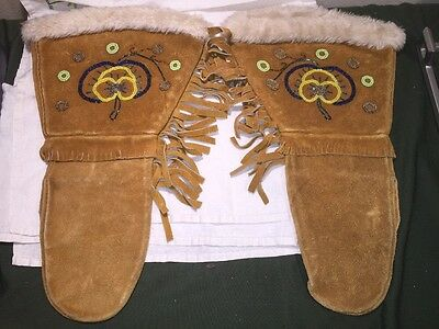 Vintage Native American Lakota Sioux Large Suede Leather Beaded Fur Gauntlets