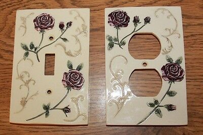 Vintage floral light switch and outlet covers Purple Rose on Cream background