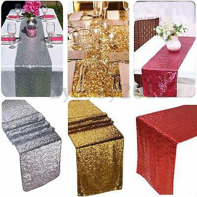"""Gold/Silver/Red Glitter Sequin Table Runner 12""""x108"""" Sparkly Wedding Party Decor"""