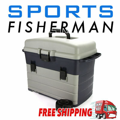 NEW HEAVY DUTY FISHING TACKLE/TOOL BOX Incl 3 removable Trays Shoulder Strap