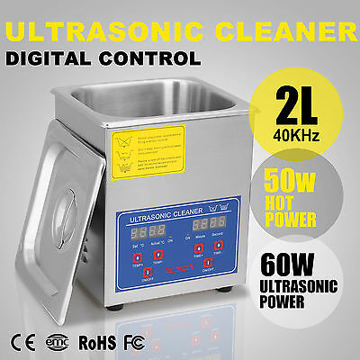 2l Ultrasonic Cleaner Cleaning W/ Heater Bracket Timer 110w Heated Jewelry Timer
