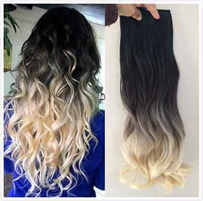 Ombre Long Straight Curly Wavy Clip in Hair Extensions Hairpieces, BLACK BLONDE