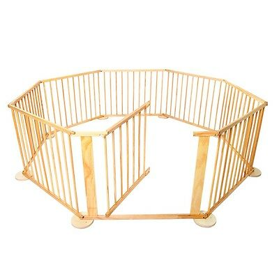NEW 8 Sides Wooden Tall Solid Timber Baby Kids Natural Safety Playpen Play Pen