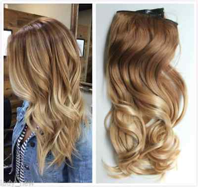 Thick One Piece Ombre Clip in Hair Extensions Synthetic Straight Curly Wavy