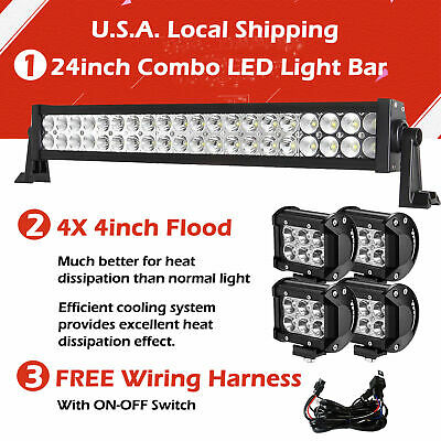 "24Inch 120W Straight Led Light Bar +2X 4"" Cree Pods Offroad Boat Suv Atv Jeep 20"