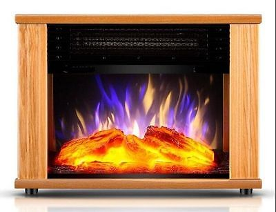 Electric Fireplace Tempered Glass Adjustable 1800W  Heater Flame Portable Stove