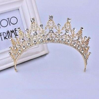 New Baroque Gold Bridal Girl Prom Jewelry Rhinestone Crown Tiara Comb HeadBand
