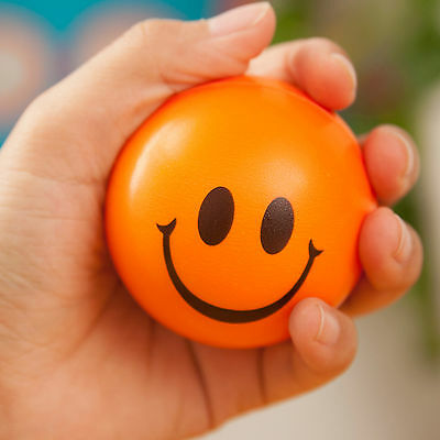 Smiley Face Anti Stress Reliever Ball Foam Sponge ADHD Autism Mood Toys SqueezeS