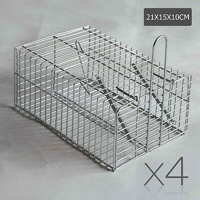 NEW 4x Spring Loaded Door Humane Animal Trap Cage, Small Pest Animal Bait Silver