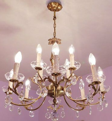 Stunning 12 Light Vintage French Crystal Chandelier