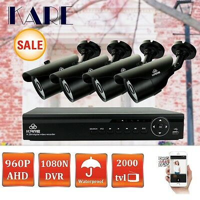 KARE 4CH 1080N HD DVR Outdoor Night Vision 960P CCTV Security Camera System P2P