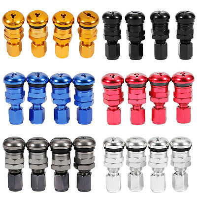 Good 4pcs Red Bolt-in Car Tubeless Wheel Tire Valve Stems With Dust Caps BC