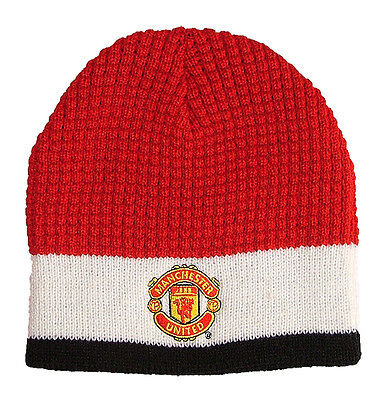 Manchester United Chunky Tri-Colour Embroidered Crest Beanie Hat FREE UK P&P