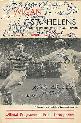 Wigan vSt Helens 28 Apr 1962 signed by 12 on the front cover RUGBY LEAGUE PROG