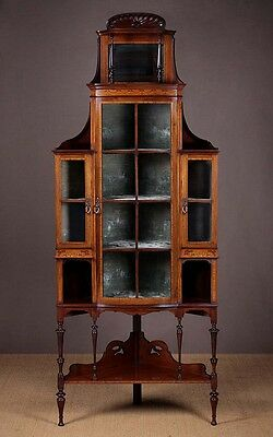 Antique Edwardian Mahogany Corner Display Cabinet c.1905