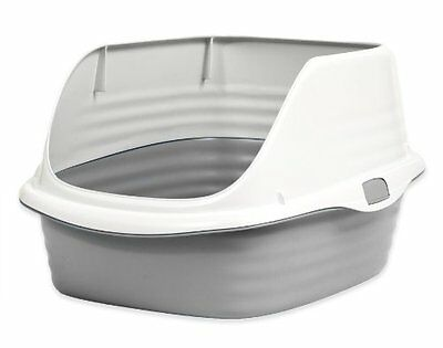 Petmate Rimmed Cat Litter Tray with Microban, Pearl White/Grey