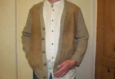 Vintage 1970s Man's Suede Fronted Hipster Cardigan - 100% Wool - Size 40/M